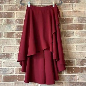Express Burgundy Maxi Ruffle Skirt